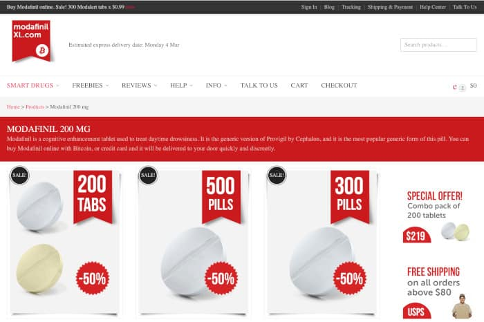 Screenshot of modafinil online seller ModafinilXL